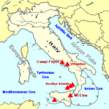 Tectonic map of Italy. Volcanoes in Italy are fomed by the subduction of the African plate beneath the European Plate