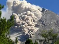 Pyroclastic flows on Merapi