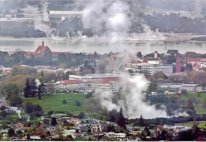 Rotorua New Zealnd lies withi n the Taupo volcanic zone