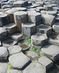 Volcanic Rocks. Giants Causeway columnar basalt flow.
