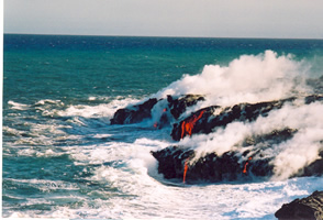 Lava flowing into the sea on Big Island Hawaii LKP