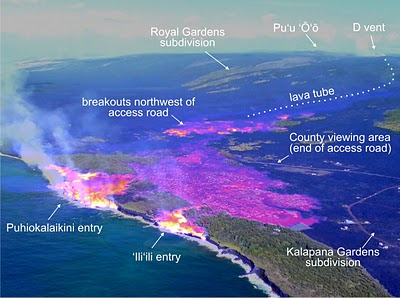USGS Thermal imaging from an airbourne sensor shows the heat from the Pu oo oo lava as it flows into the sea on Big Island