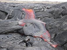 Pahoehoe lava in Hawaii