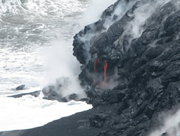 Lava flow entering the sea in 2010 from the Kilauea eruption on Big Island Hawaii USGS
