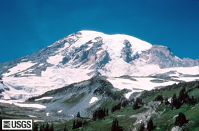 Mt Rainier in Washington State lies within Mt Rainier National Park and is part of the volcanic cascades range. USGS