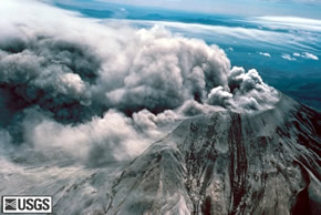 Mt St Helens Crater during the eruption from the south USGS