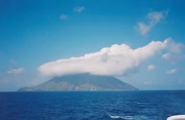 Italian volcano Stromboli from the sea in the aeolian islandsLKP