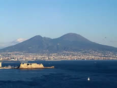 Vesuvius looms over the city of Naples